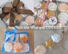 CancunCOOKIES: seashells, starfish, sand dollars + packing cookies