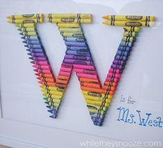 Crayon Monogram Wall Art for a special teacher.