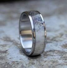 Antler Ring, Men Wedding Ring, Stainless Steel Ring, Wedding Ring, Mens Band