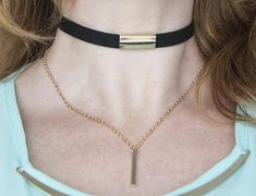 Faux leather choker necklace double strand necklace gold
