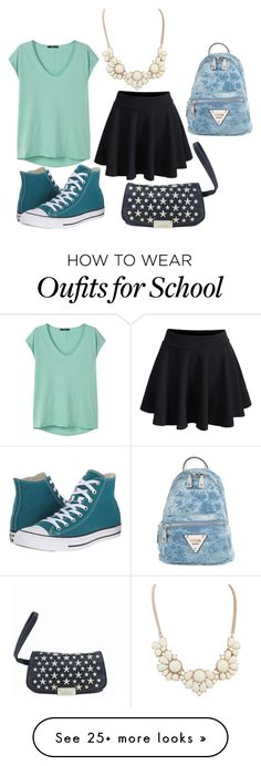 """""""First Day of School"""" by i-dont-want-to-go on Polyvore featuring MANGO, WithChic, Converse, Jimmy Choo, Glamiz and GUESS"""