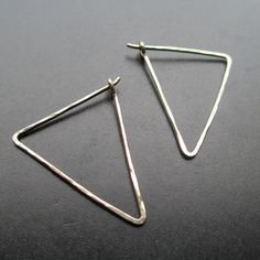 Triangle Hoops SMALL ISOSCELES 14k Gold by YourUniqueKreations, $14.00