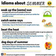 """Idioms About Summer"" #ELL #ELD #ESL"