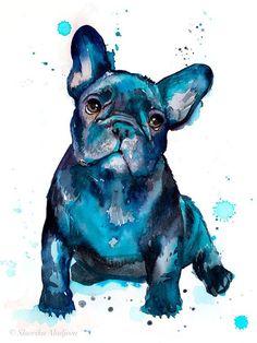 French Bulldog Art Print by Slaveika Aladjova - X-Small Tattoo Bulldog, French Bulldog Tattoo, Owl Watercolor, Watercolor Animals, Watercolor Paintings, Bulldogge Tattoo, French Bulldog Drawing, Black French Bulldogs, Dog Paintings