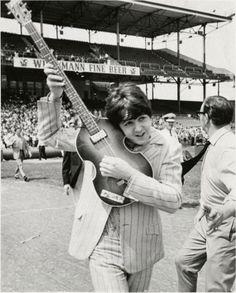 """8/22/66, Crosley Field, """"Paul McCartney Swings Into Action."""" #Beatles Staff Photo by Boston"""