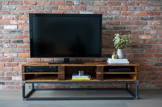Reclaimed Wood Media Stand / TV Centre Pallet Wood with Steel Frame, Media Console, Storage, Raw Steel, Toronto Furniture, Condo, Handmade by Sonofawoodcutter on Etsy https://www.etsy.com/listing/236320530/reclaimed-wood-media-stand-tv-centre