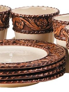 Tooled Leather Western Dinnerware hmmmm not quite what I have in mind and kinda gaudy yet I kinda like it. Western Style, Western Bedroom Decor, Western Bedrooms, Rustic Bedrooms, Leather Tooling, Tooled Leather, Plans Architecture, Western Furniture, Cabin Furniture