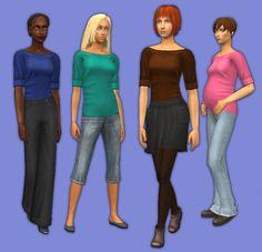 Mod The Sims - Simple Basics: Boatneck Shirts
