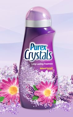 Purex Crystals - Lavender Blossom scent. These 87% natural crystals go in at the start of the wash, so they spend more time infusing laundry with long-lasting lavender freshness. #ScentsationalSpringWithPurex