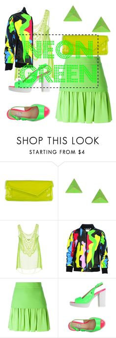 """""""Neon Green"""" by missmygreenhair ❤ liked on Polyvore featuring Miguelina, Dear Deer, FAUSTO PUGLISI and Love Moschino"""