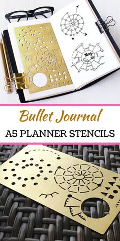 Bullet Journal A5 Planner stencils! Use this stencil to create beauty habit trackers and lists quick and easy! No drawing skills requied! Brushed brass metal stencil fits Midori Regular Traveler's Notebook. A5 planners, notebooks, organizers, & journals. #ad #stencils #bulletjournals #journaling #planners #organize