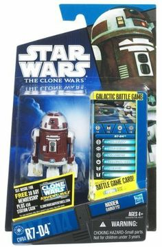 Star Wars 2011 Clone Wars Animated Action Figure CW No. 64 R7D4 Plo Koons Astromech by Hasbro Toys. $14.99. Figure comes with GALACTIC BATTLE GAME card, battle base and die.. Re-enact Star Wars adventures or create new ones with your R7-D4 figure!. Stand him up in your collection.. Join the Clone Wars with these thrilling figures, each packaged with a fun game piece!Exciting 3 3/4-inch Star Wars action figures in an animated style.Articulated wrists, removable helmets, and mor...