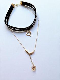 Black Studded Heart Leather Choker