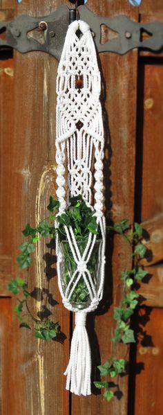 """Macrame plant hanger, 34"""", WHITE, plant holder, hanging planter, pot holder, small, hippie, home decor, tribal, gift, wedding decor, 70s 70s"""