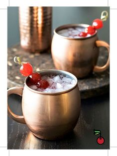 Very Cherry Moscow Mule! A fruity twist on a classic (and popular!) drink, this cherry moscow mule is made with cherry vodka and garnished with maraschino cherries. GET THE RECIPE:. Winter Cocktails, Summer Drinks, Fun Drinks, Alcoholic Beverages, Mixed Drinks, Brunch Drinks, Christmas Cocktails, Refreshing Cocktails, Classic Cocktails