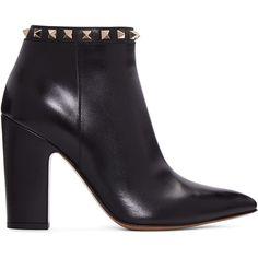 af831603865 Valentino Black Leather Rockstud Strapped Ankle Boots ( 685 ...