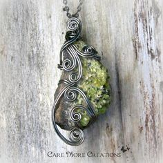 Natural Raw Peridot Wire Wrapped Pendant - As Gifted to Rachael Ray - August Birthstone
