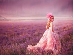beautiful pink dress in fields of lavender, like a fairytale dream with the foggy mist.  lavender field by Alena Kycher on 500px