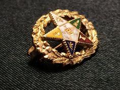 Order of the Eastern Star Pin  Masonic Enamel by EstateJewelryMama