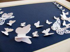 White 3D Butterflies on Midnight Blue Linen. by aboundingtreasures, $40.00