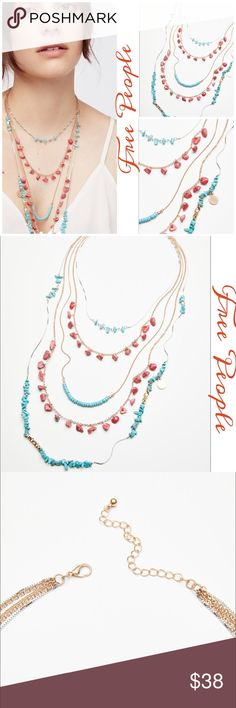 Free People Seaside Cove Stone Necklace This seaside-inspired necklace features a layered look and beautiful coral and turquoise stone accents throughout  Adjustable lobster clasp closure  10%brass 55% reconstructed stone 30% steel 5% zinc Free People Jewelry Necklaces