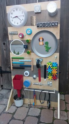 **This busy board includes gears as shown. If you are interested in a large board without gears, please check out our other large busy board listing: Sensory Wall, Sensory Boards, Toddler Fun, Toddler Toys, Kids Toys, Infant Activities, Activities For Kids, Diy Busy Board, Toddler Activity Board