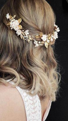 Wedding Hairstyles HELENA Blush and gold wedding headpiece wedding tiara Prom Hairstyles For Short Hair, Best Wedding Hairstyles, Loose Hairstyles, Bridesmaid Hairstyles, Bride Hairstyles, Pretty Hairstyles, Headpiece Wedding, Bridal Headpieces, Gold Headpiece