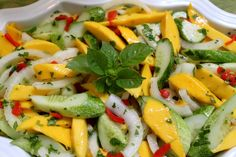 Mango, cucumber, and sweet onion salad
