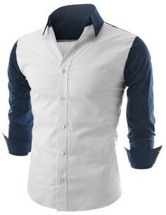Doublju Mens Contrast Long Sleeve Button Down Shirt (KMTSTL0142) #doublju
