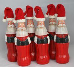 Coke Bottle Santas.So cute. Z
