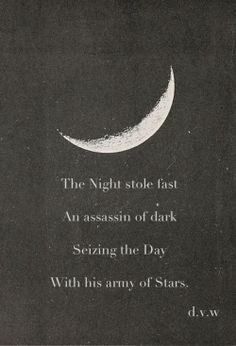 The Night sole fast An assassin of dark Seizing the day With his army of stars.