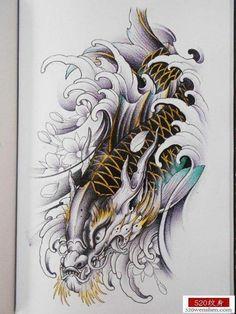 Cá chép Dragon Koi Tattoo Design, Koi Dragon Tattoo, Koi Fish Tattoo, Japanese Snake Tattoo, Japanese Tattoo Designs, Japanese Sleeve Tattoos, Koi Tattoo Sleeve, Knee Tattoo, Tattoo Name Fonts