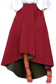 Burgundy Asymmetric High-Low Hem Maxi Prom Skirt