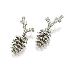 PAIR OF DIAMOND 'PINE CONE' PENDENT EARRINGS, MICHELE DELLA VALLE Each suspending a three dimensional pine cone pavé-set with brilliant-cut diamonds, surmounted by similarly-set branches, the diamonds altogether weighing approximately 1.68 carats, clip and post fittings, signed and numbered 030706.