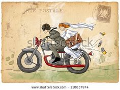 Illustrazione stock 118637974 a tema Retro Wedding Illustration Just Married Groom Wedding Illustration, Couple Illustration, Wedding Couples, Wedding Gifts, Wedding Ideas, Vespa Wedding, Retro Wedding Invitations, Travel Icon, May Weddings