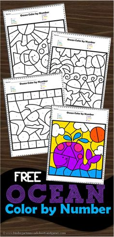 FREE Ocean Color by Number - super cute and free printable ocean theme color by code worksheets for kids to practice number recognition! Perfect for preschool and kindergarten age kids Kindergarten Colors, Preschool Colors, Kindergarten Age, Numbers Preschool, Free Preschool, Kindergarten Worksheets, Preschool Activities, Number Worksheets, Kids Printable Activities