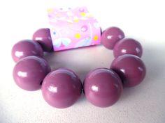 Vintage bracelet, chunky beads, plastic round beads, purple beads, chunky bracelet, fun bracelet, cute jewelry, vintage chunky jewelry