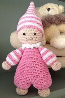 Mijn Hobbystekje : Cuddly Baby (Lilleliis)ū Chat Crochet, Crochet Baby Toys, Crochet Rabbit, Crochet Dolls Free Patterns, Crochet Headband Pattern, Crochet Doll Pattern, Knitted Teddy Bear, Crochet Teddy, Diy Crafts Crochet