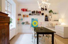 Lägenhet i Stockholm - Skeppsholmen Sotheby's International Realty White Wall Shelves, Office Desk, Shelving, Corner Desk, Sweet Home, Stockholm, Literacy, Shelf, Teaching