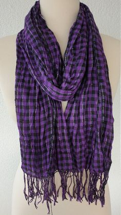 Lace Scarf, Cowl Scarf, Fringe Scarf, Tartan Scarf, Plaid, Purple Scarves, Circle Scarf, How To Wear Scarves, Womens Scarves
