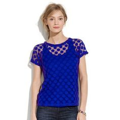 Sheer top with opaque pots Perfect condition. Fun bold blue color. True to size Madewell Tops