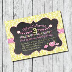 Pink Lemonade Birthday Invitation - DIY Printable, Lemonade stand, Chalkboard, Country, Damask, Summer, Yellow and Pink #invitations #pinklemonade #lemonadebirthday