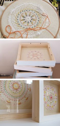 Embroidery Vintage Ernest Hope - Framed Embroideries - embroider on vintage doilies - good idea Embroidery Hoop Art, Cross Stitch Embroidery, Embroidery Patterns, Fabric Crafts, Needlework, Sewing Projects, Crafty, Couture, Handmade