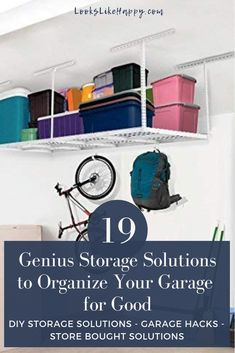 19 Genius Storage Solutions to Organize Your Garage for Good | Warmer weather means it's time for spring cleaning! Don't forget the garage! Pin now, organize this weekend!  #organization #springcleaning
