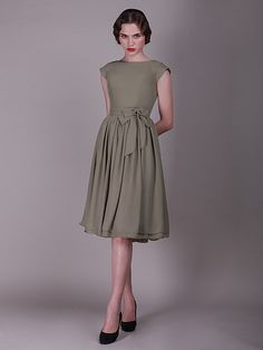 Cap Sleeved  Vintage Bridesmaid Dress with Faux Buttons | 15% off, plus FREE Custom Made! 10+ measurements required for a perfect fit, no matter what sizes you are in!