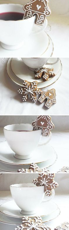 Eeek!! Just too adorable for words! I love everything about these little gingerbread houses and cookies that sit on cups. Perfect for a hygge-tastic hot chocolate party! #etsy #affiliate #handmade #hygge #scandistyle