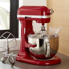 $499.99 - Mail-In Rebate: Receive a Spiralizer Attachment with mail-in rebate when you purchase a KitchenAid Metallic Series, Professional, or ProLine Stand Mixer. Ends October 22. This professional stand mixer in cheery red commands a commercial-style motor for the home kitchen. The most powerful stand mixer in its family, this high-performance beauty with 14 cups of flour power is able to churn through double batches of bread dough with a PowerkneadTM spiral dough hook that replicates…