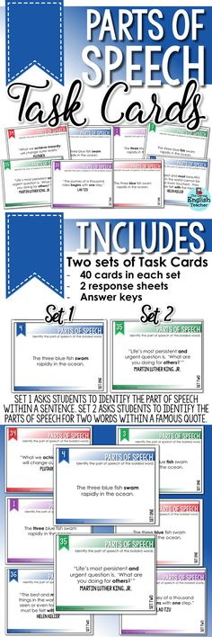 Parts of speech task cards for secondary ELA grammar instruction and test-prep practice. Ideal for the middle school and high school English language arts classroom, these parts of speech task cards review key parts of speech and include famous quotes.