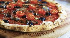 Anchovy Pizza, Capers, Olives, Cherry Tomatoes, Oregano, Garlic, Mozzarella