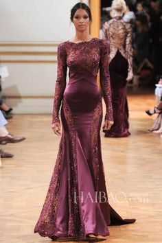 2014 New Style long sleeves jewel lace and strecth satin sheath beading sweep train zuhair murad evening dresses $155.00